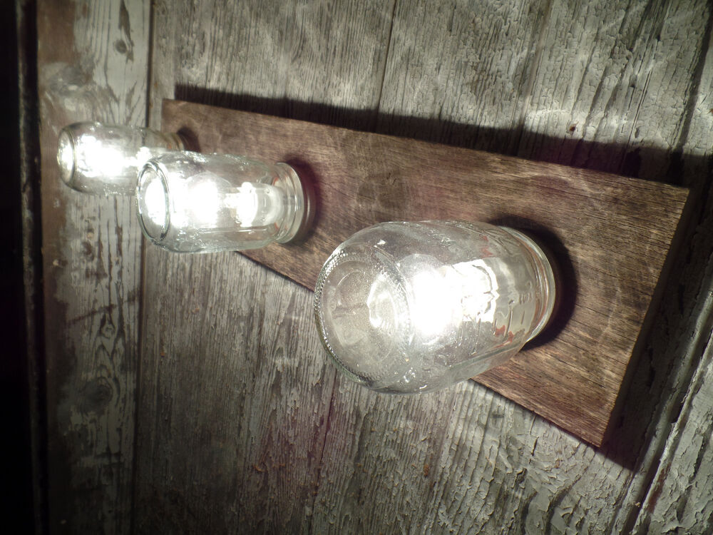 "24"" 3 Mason Jar Light Fixture Reclaimed OAK Barn Board"