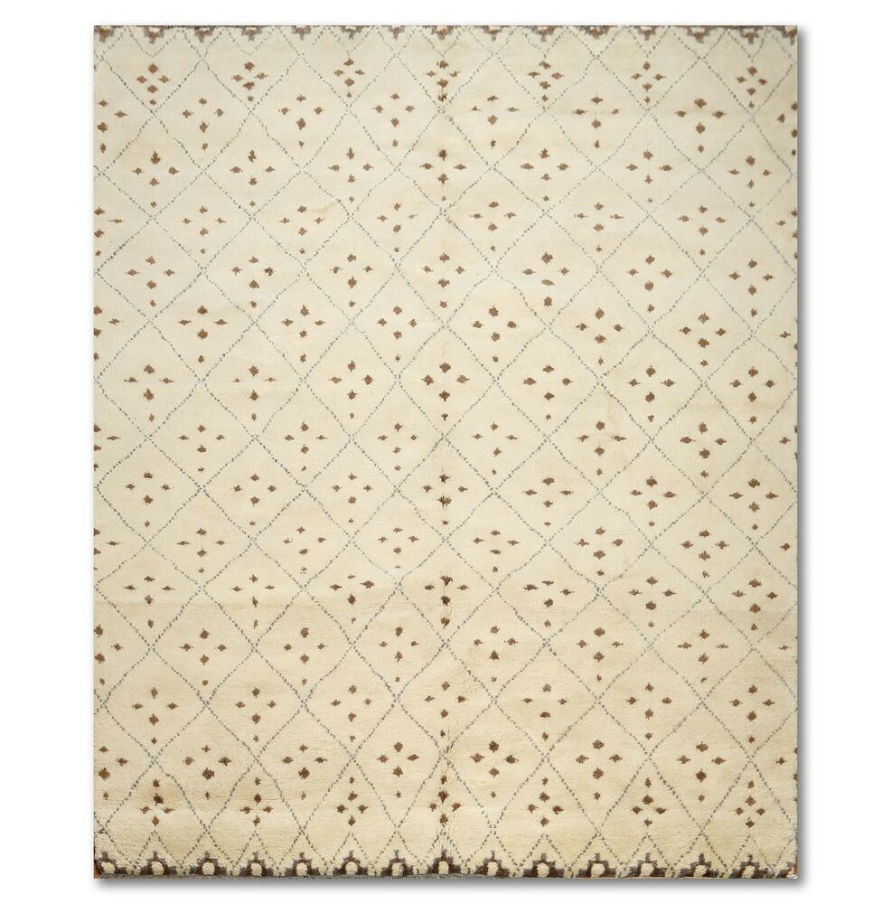 """9 X 12 Nourison Nourmak Hand Knotted 100 Wool Persian: 7' X 9'6"""" Handmade Hand Knotted Moroccan Rug 100% Wool"""