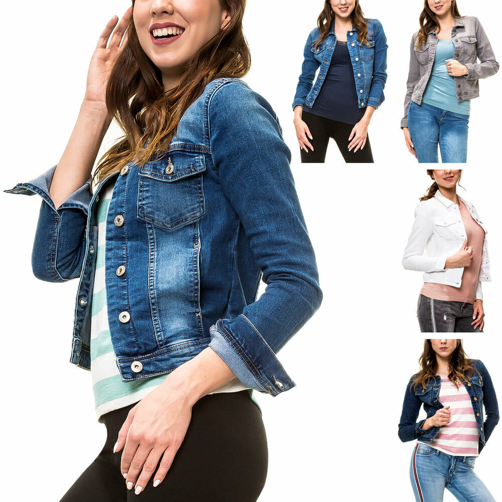 only damen jeansjacke damenjacke denim jacket 34 36 38 40 42 blau hellblau wei ebay. Black Bedroom Furniture Sets. Home Design Ideas