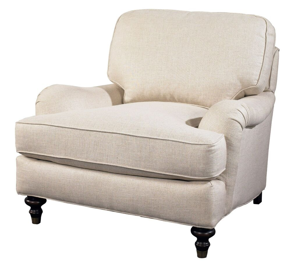 Westport English Roll Arm Chair 100 Linen Off White Down