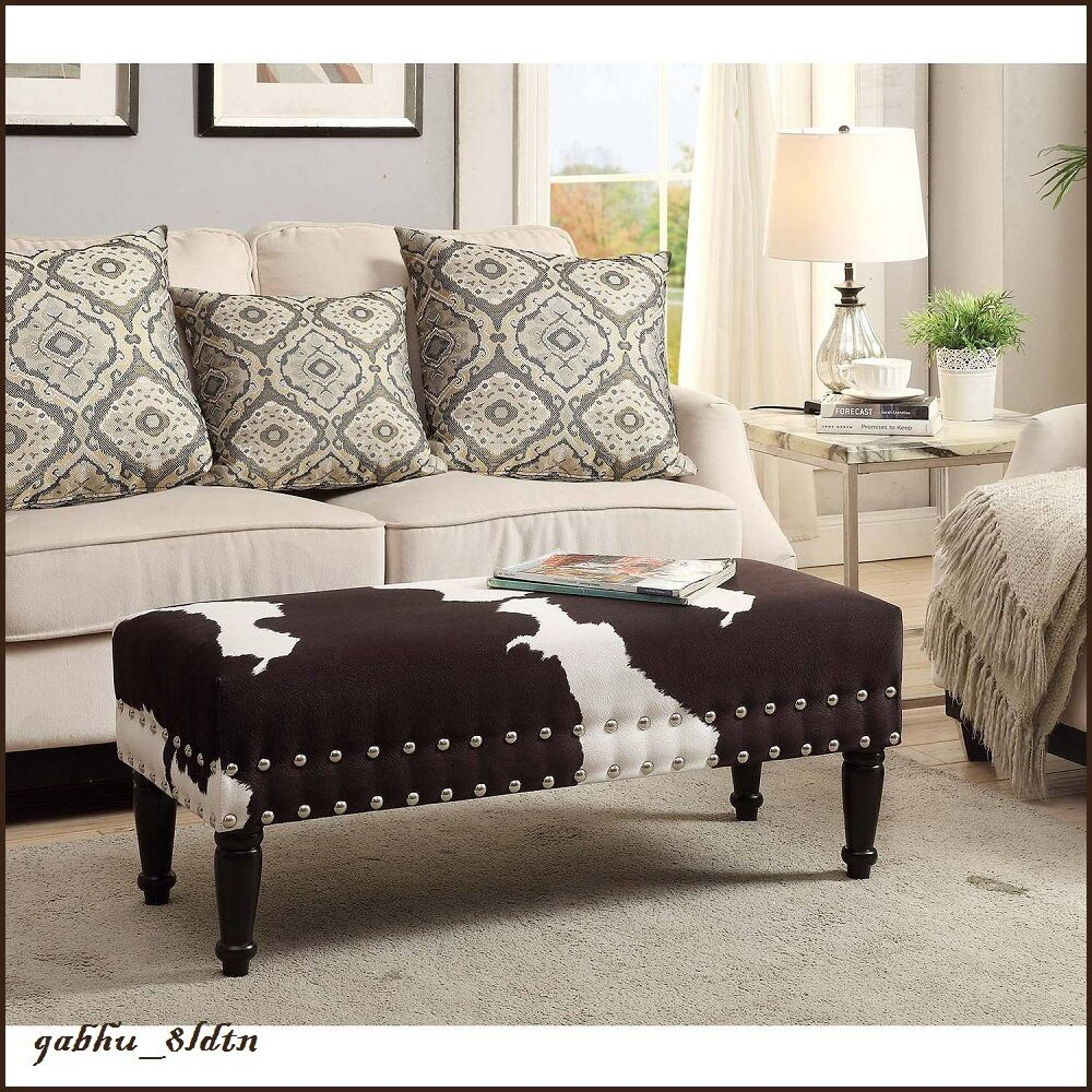 Country Cabin Cow Hide Bench Rustic Black White Ottoman w
