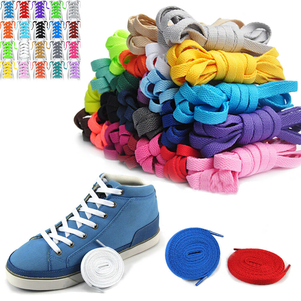 flat coloured athletic sneaker shoe laces strings