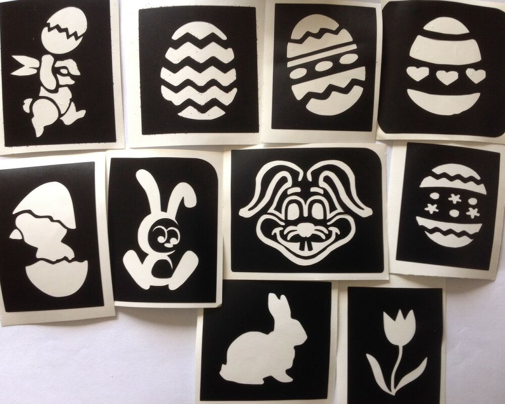10 x easter stencils 2 top up your glitter tattoo kit face for Rabbit tattoo kit