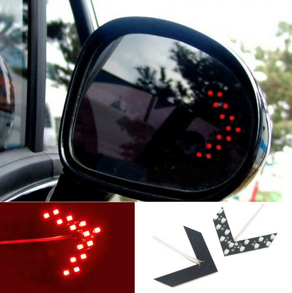 1 pcs auto side rearview mirror arrow 14smd red led turn. Black Bedroom Furniture Sets. Home Design Ideas
