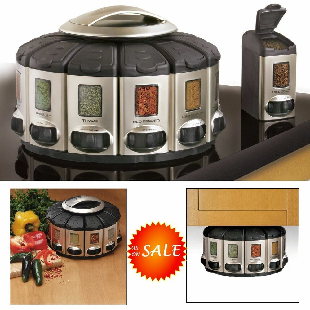 auto measure spice jar rack rotate carousel storage holder