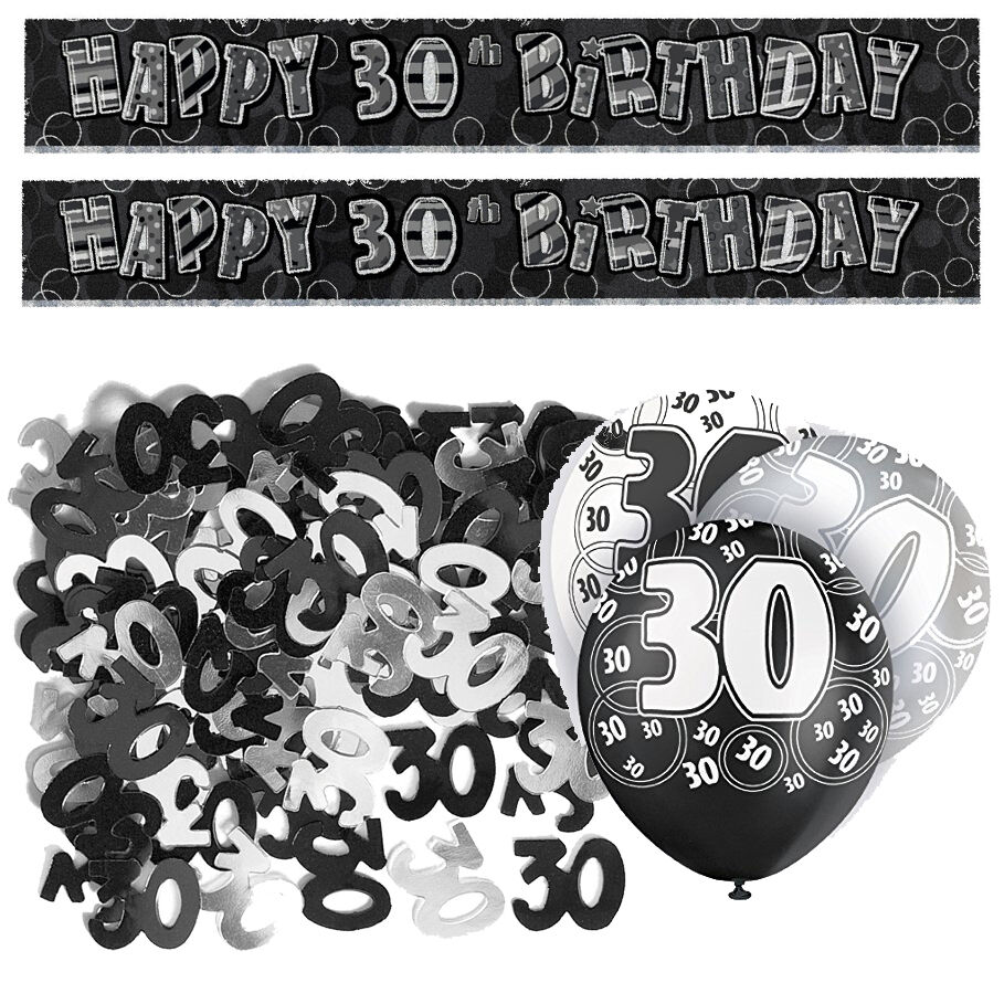 Black 30th birthday banner party decoration pack kit set for 30th birthday decoration packs