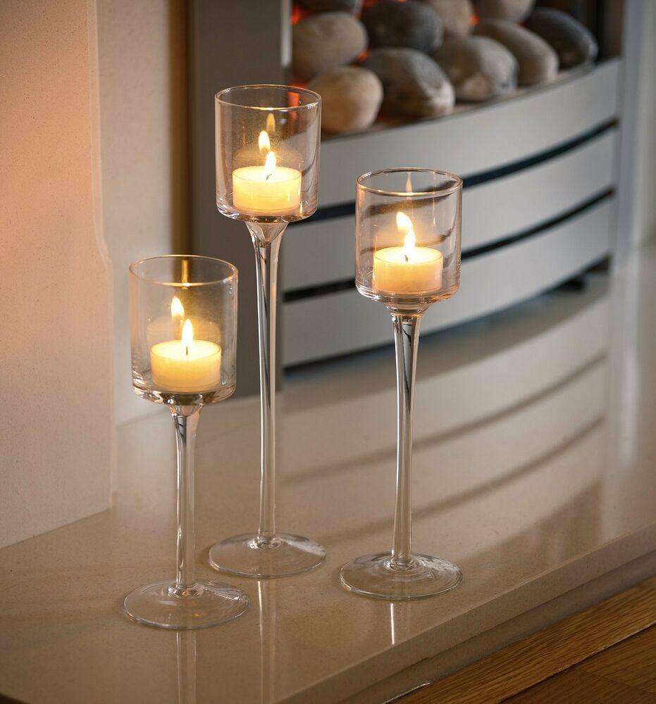 Set of elegant tea light glass candle holders wedding