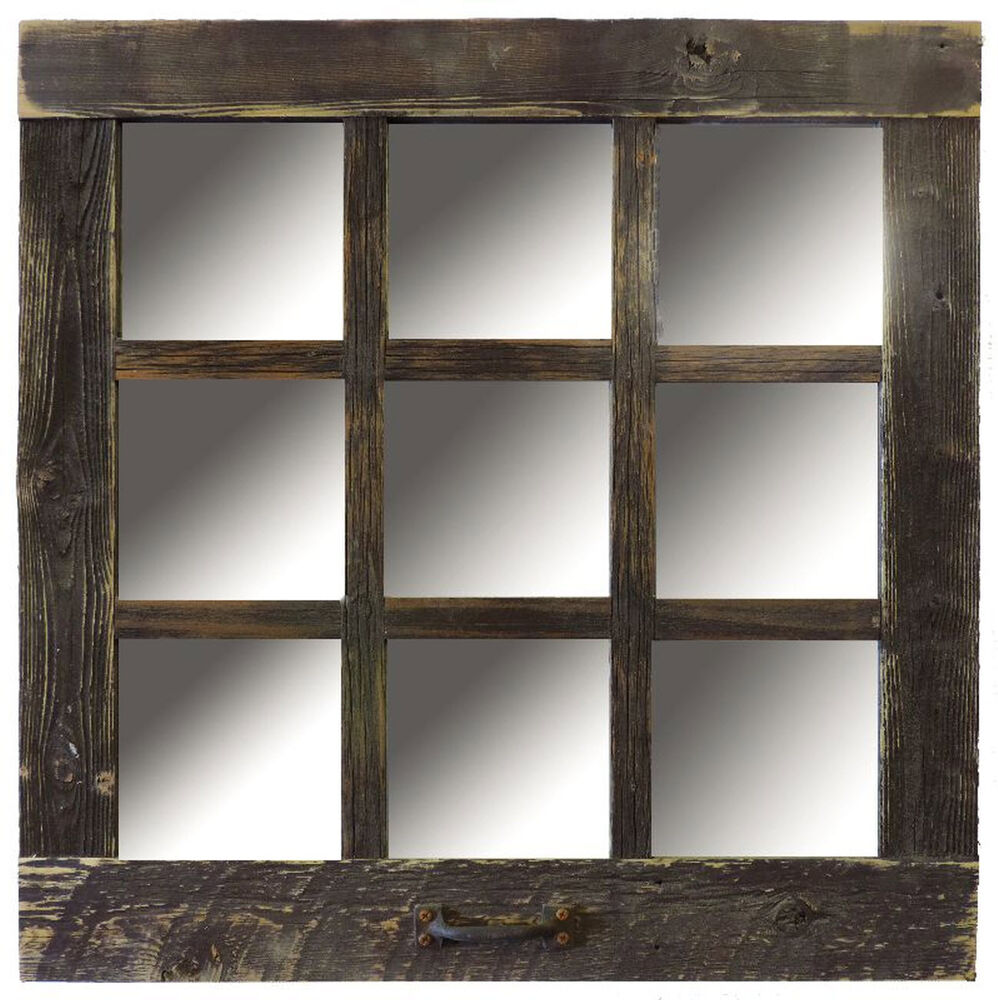 Reclaimed barn wood 9 pane window mirror rustic 24x24 Window pane mirror