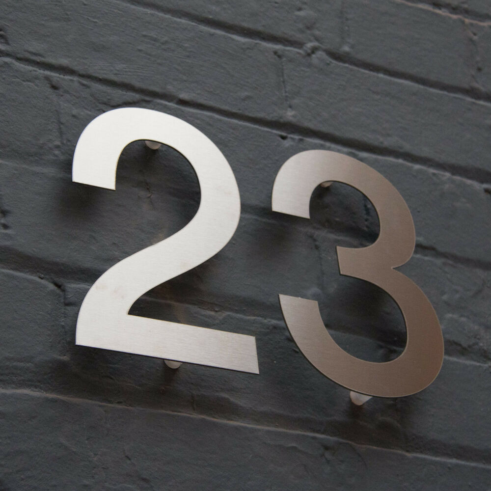 Designer stainless steel house door numbers helvetica for Big modern house numbers