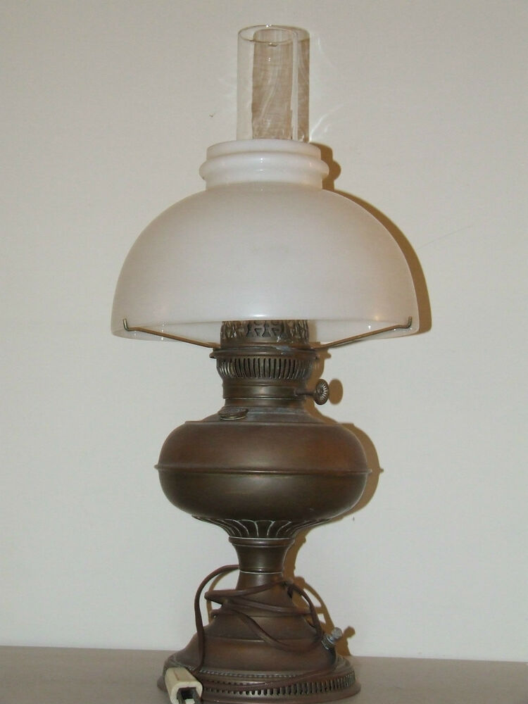 Antique 1800 S Brass Rayo Electric Oil Gwtw Table Lamp