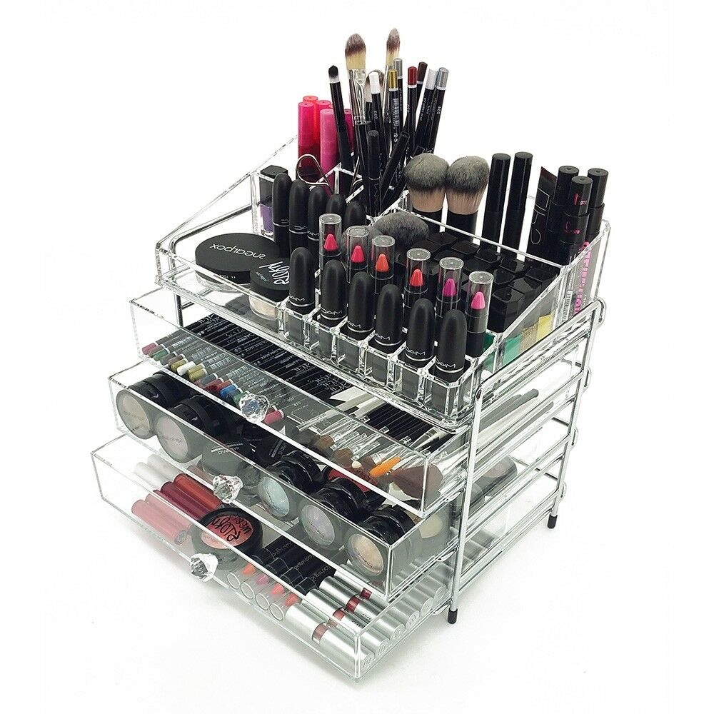 New Deluxe Makeup Organizer Steel Acrylic 4 Tier Drawer