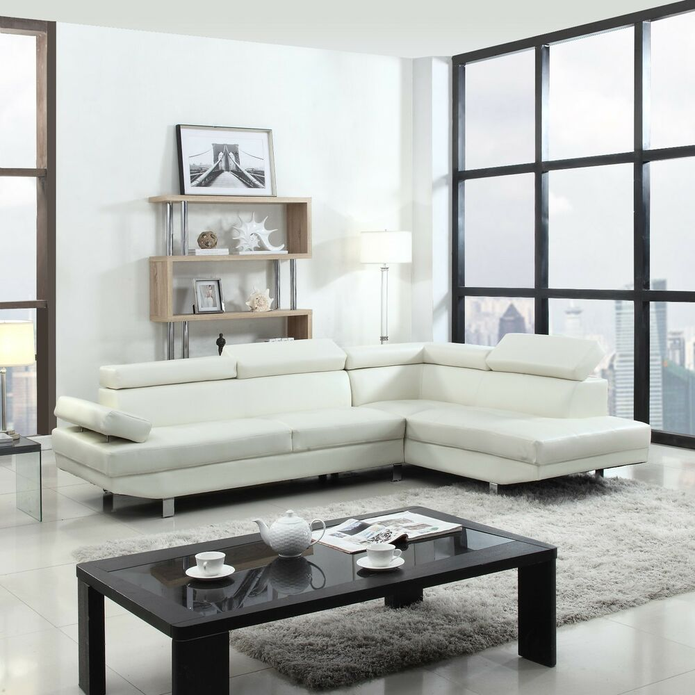 2 Piece Contemporary Modern Faux Leather White Sectional Sofa Ebay