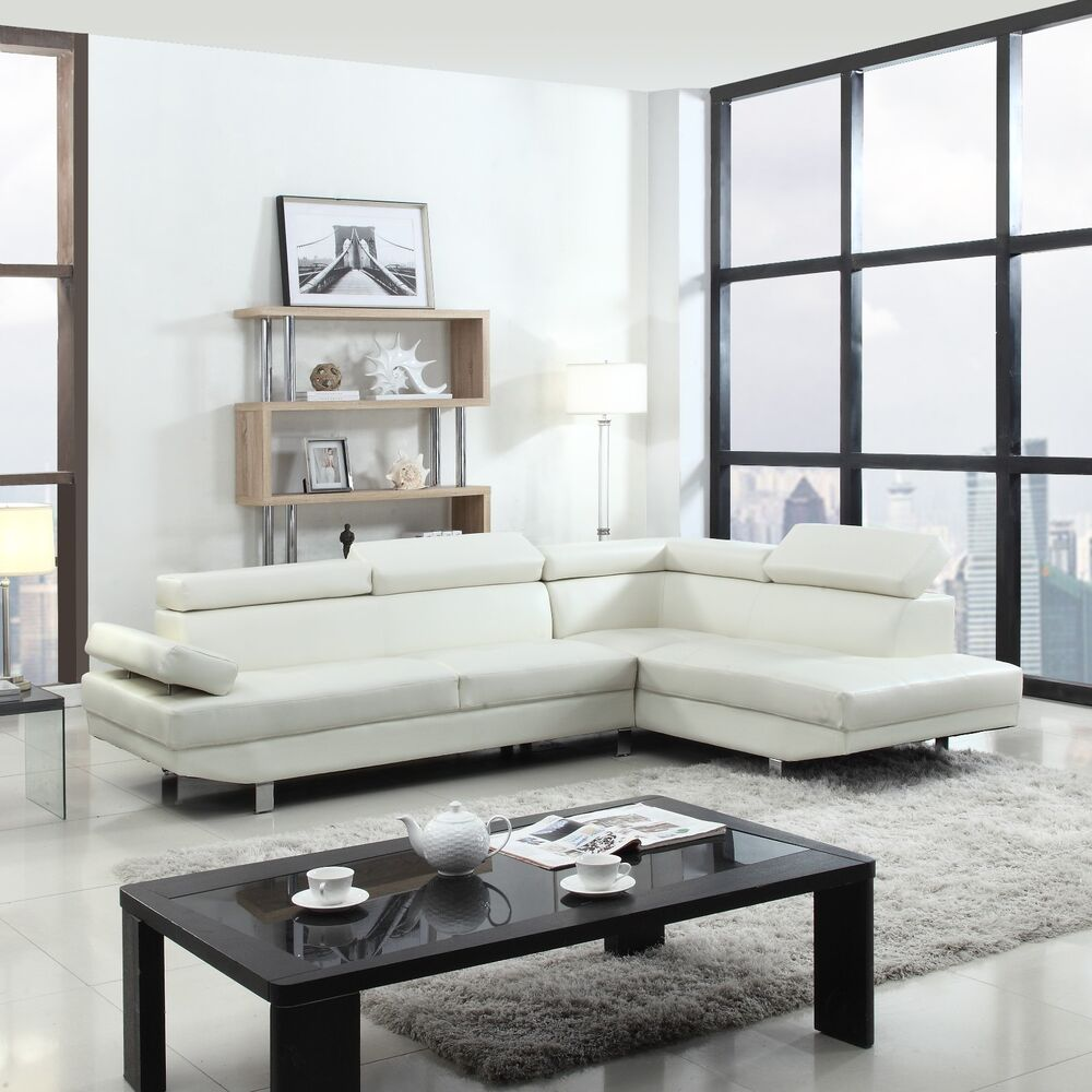 2 piece contemporary modern faux leather white sectional for Contemporary sectional sofas