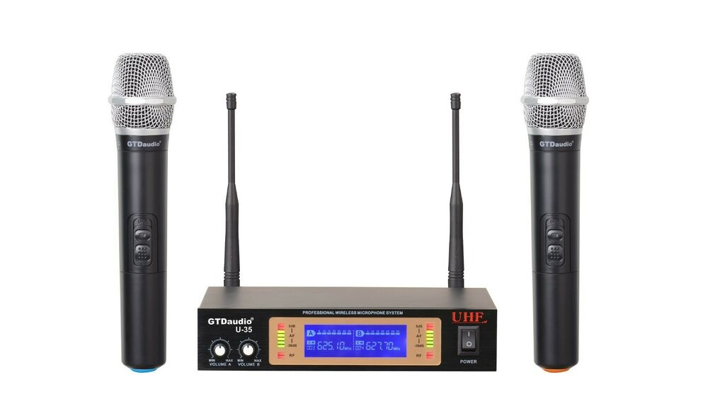 gtd audio 2ch uhf handheld wireless microphone mic system new 35h ebay. Black Bedroom Furniture Sets. Home Design Ideas