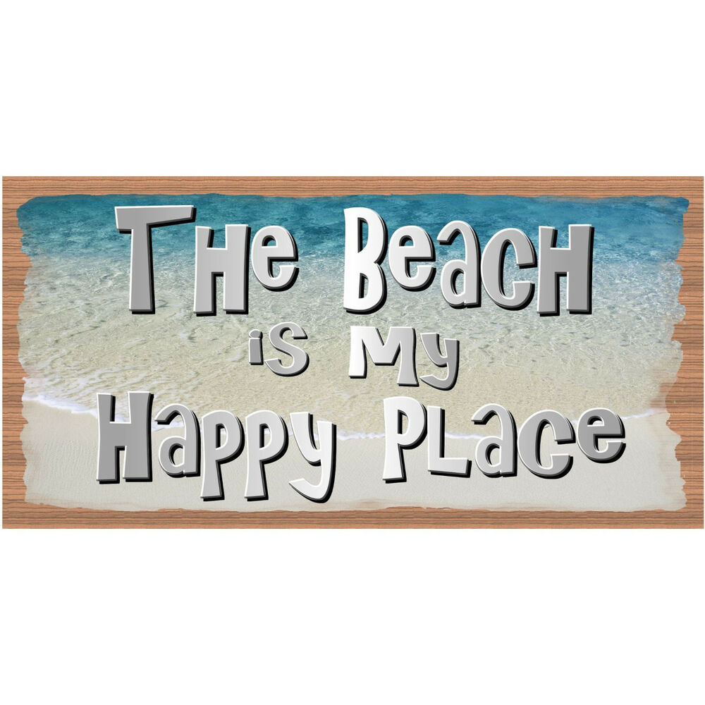 Details about wood signs the beach is my happy place plaque gs 1504 tropical sign