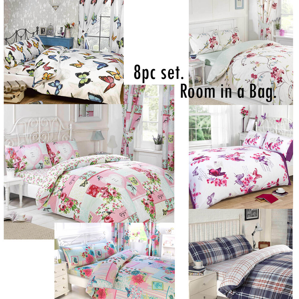 8pc complete bedroom in a bag duvet cover curtains fitted sheet pillowcases ebay for Complete bedroom sets with curtains