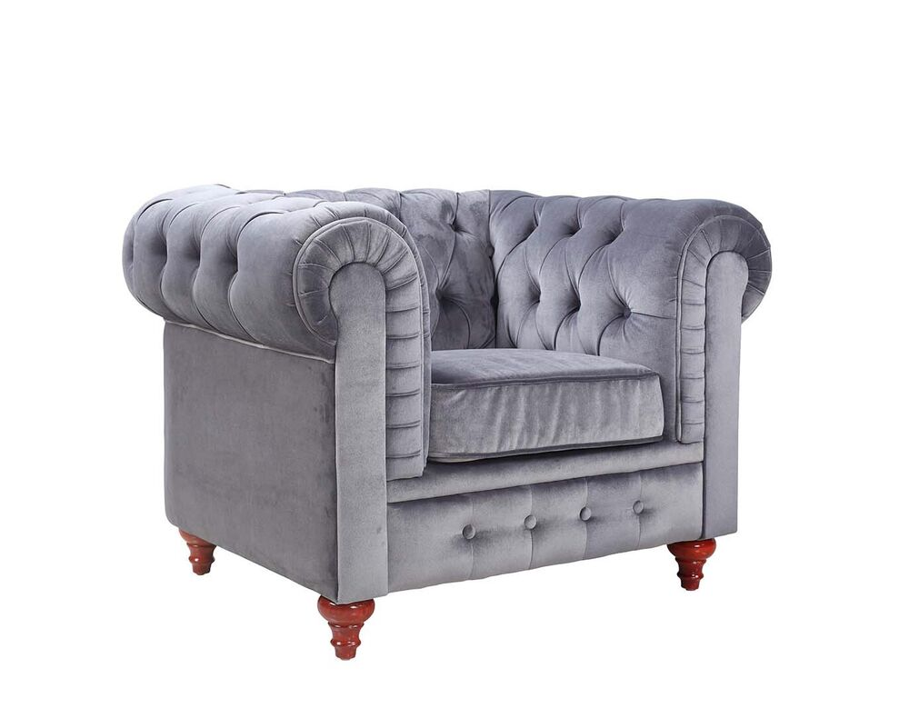 Modern chesterfield grey velvet accent chair tufted Tufted accent chair