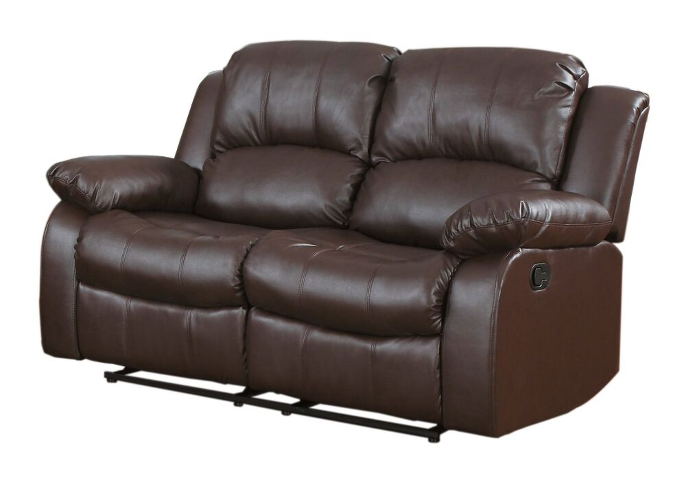 Traditional Brown Love Seat 2 Seater Bonded Leather