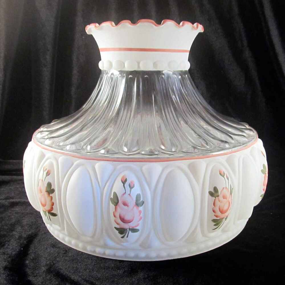 "Hand Painted Lamp Shades: 10"" GLASS ALADDIN PINK ROSES M751 Hand Painted SHADE For"