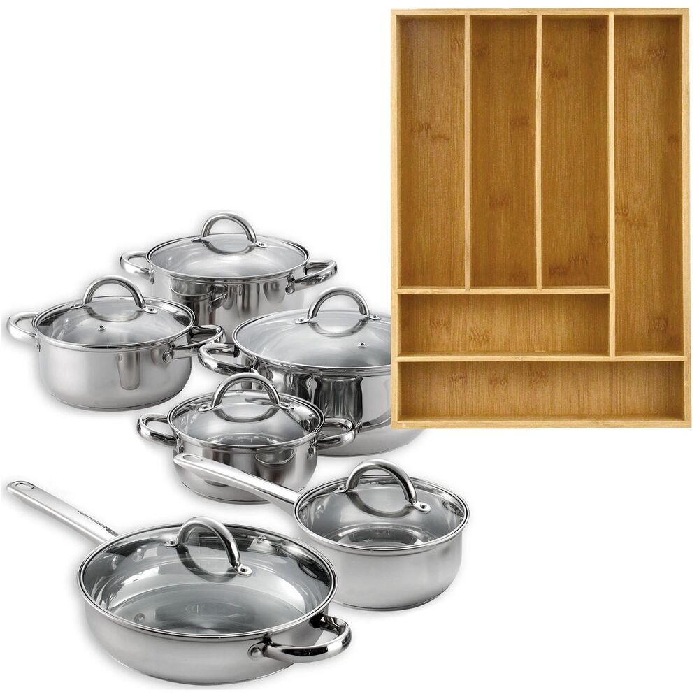 12 piece cookware set stainless steel pots pans bamboo 6 slot organizer tray ebay. Black Bedroom Furniture Sets. Home Design Ideas