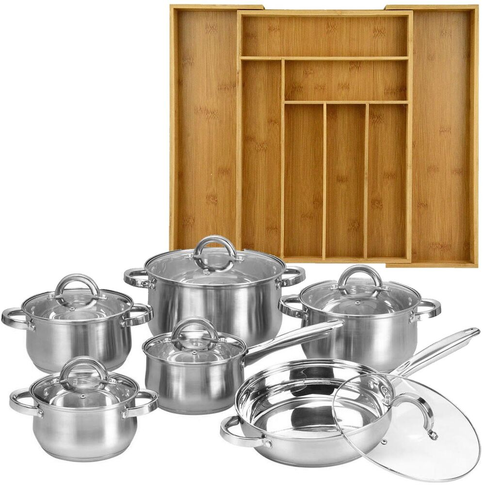 12 piece cookware set stainless steel pots pans bamboo 8 slot organizer tray ebay. Black Bedroom Furniture Sets. Home Design Ideas