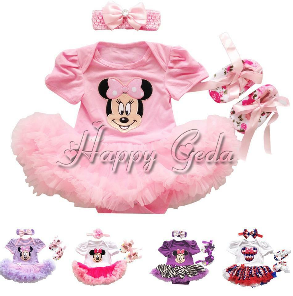 3pcs baby minnie mouse romper dress outfit girls 1st birthday headband