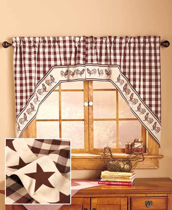country star kitchen curtains swag style country primitive gingham western lone 6202