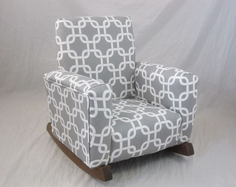 New childrens upholstered rocking chair gotcha gray toddle for Grey childrens chair