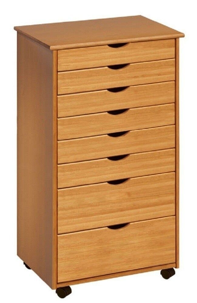 craft storage cabinet adeptus 6 plus 2 drawer wide roll cart 76154 medium pine 14172