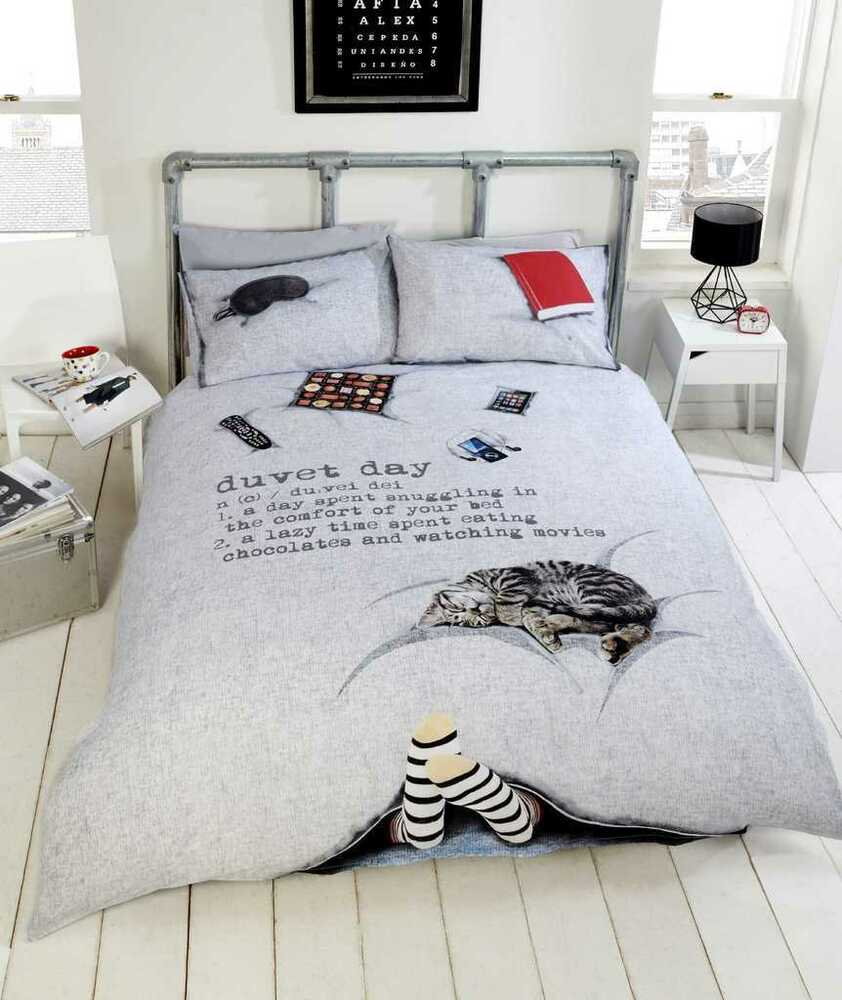 Duvet Day Lazy Day Cosy 3d Photographic Grey Duvet Quilt