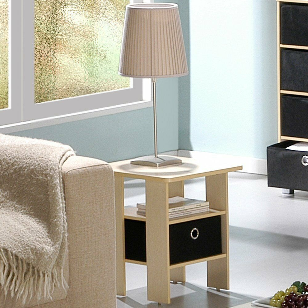 Furinno End Table Bedroom Night Stand With Bin Drawer Steam Beech Black New