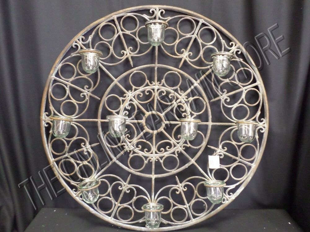 Round Wire Wall Decor : Antique vintage rustic round votive candle holder wall