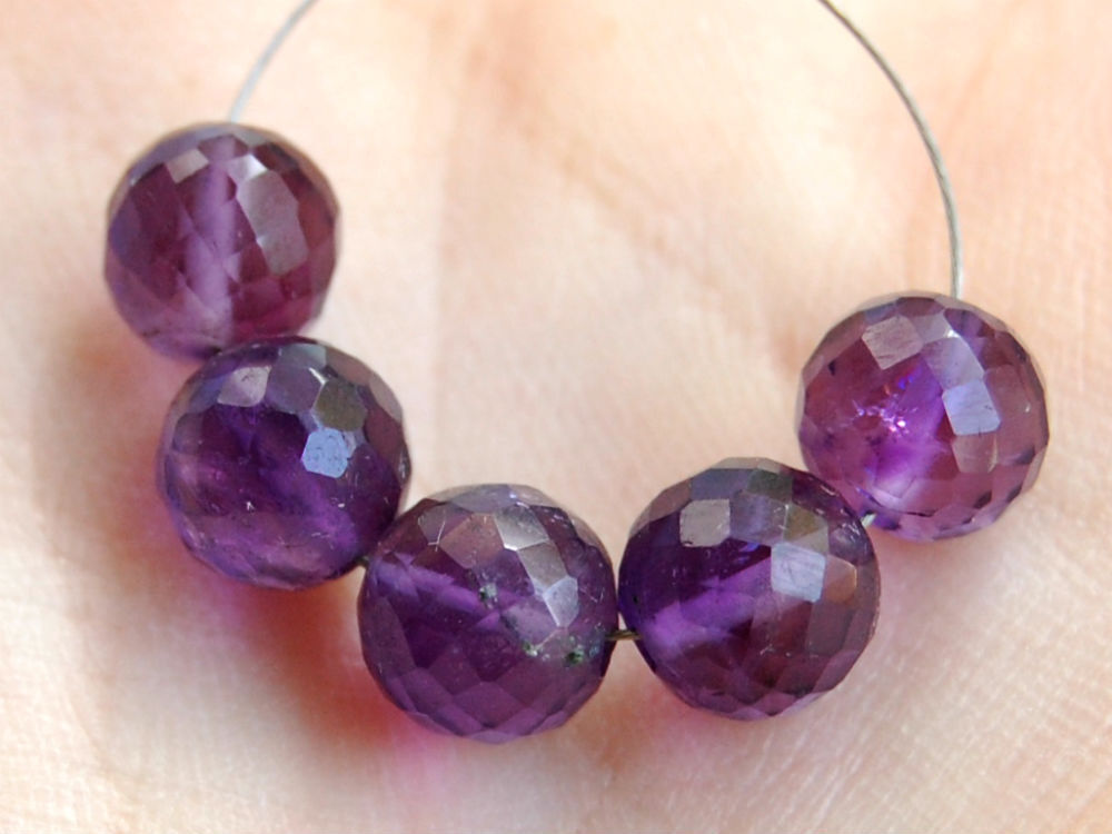 Natural Stone Beads : Natural african amethyst faceted round ball semi precious