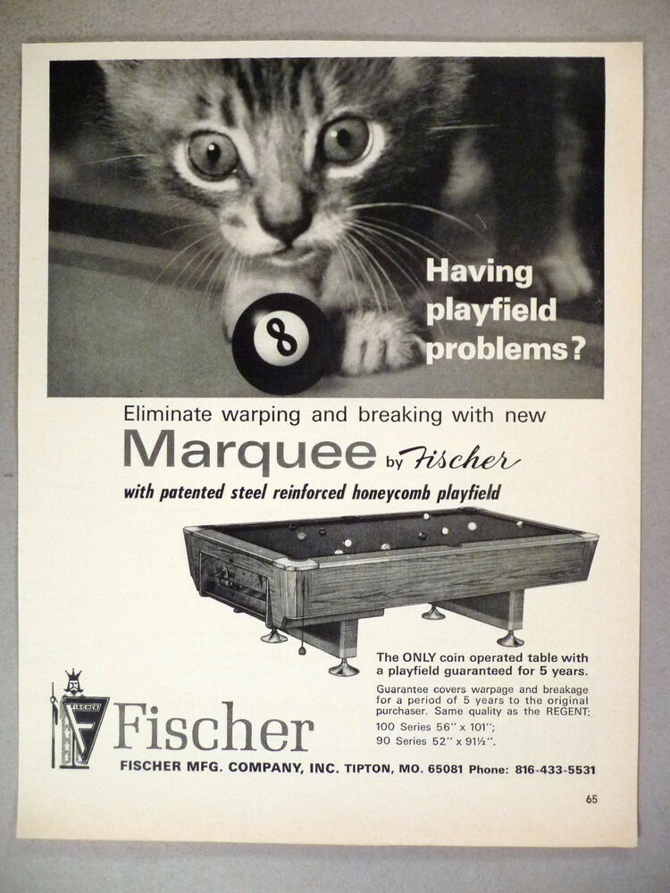 Marquee CoinOperated Pool Table PRINT AD Fischer Kitty - Honeycomb pool table
