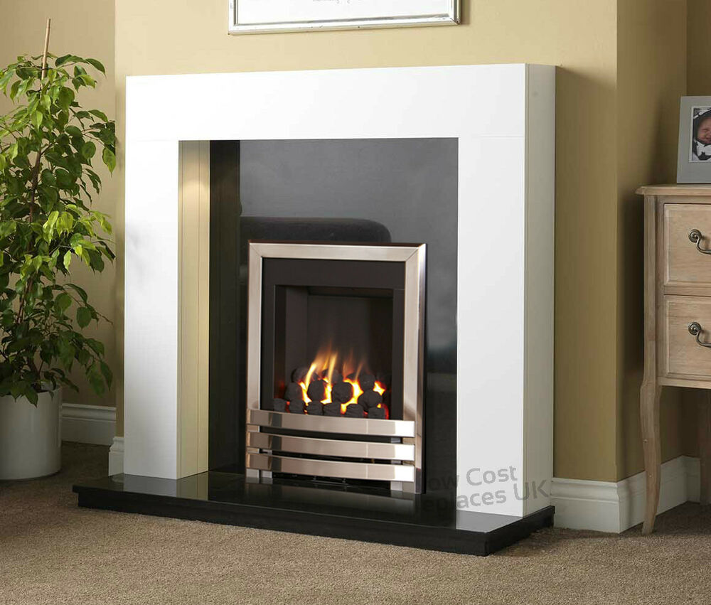 Gas white surround black granite chrome flame fire for Fireplace surrounds for gas fires