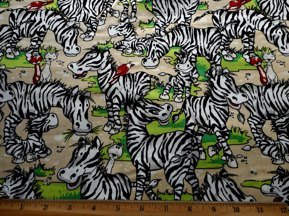 Childrens fabric bty zany zoo zebras fabri quilt quality for Childrens cotton fabric by the yard