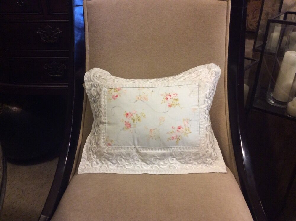Shabby Chic Bed Pillows : TRES CHIC Bed Pillow SHABBY CHIC Embroidery ROSES Pale Blue White And Pinks eBay