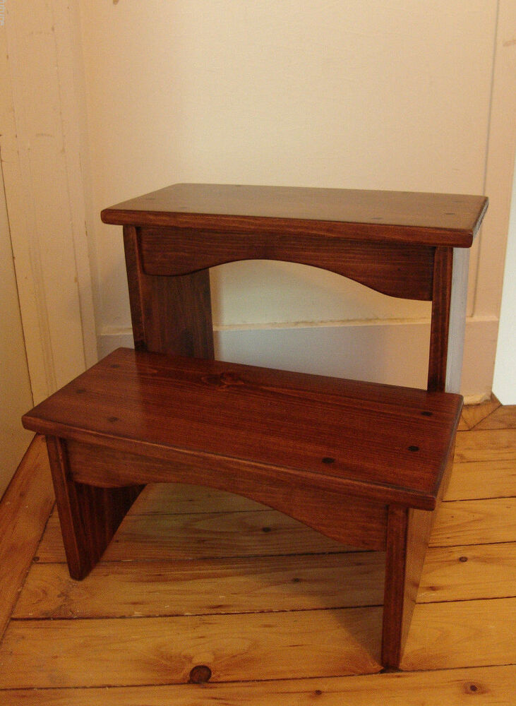 15 Quot Tall Handcrafted Heavy Duty Step Stool Solid Wood Kitchen Bedside Bed Goldbr Ebay