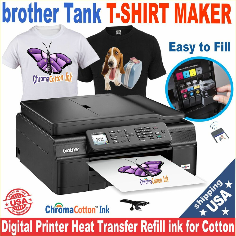 1 T-SHIRT MAKER PRINTER TRANSFER 100% COTTON BULK INK