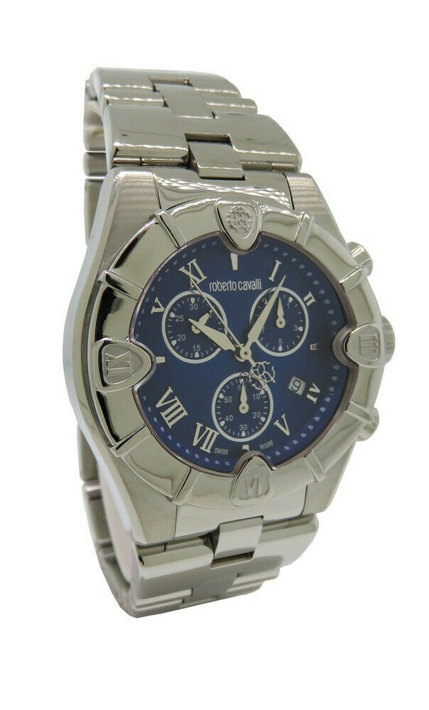 fdb43d7f605f8 Details about Roberto Cavalli R7253616035 Diamond Time Men s Chrono Date  Blue Analog Watch