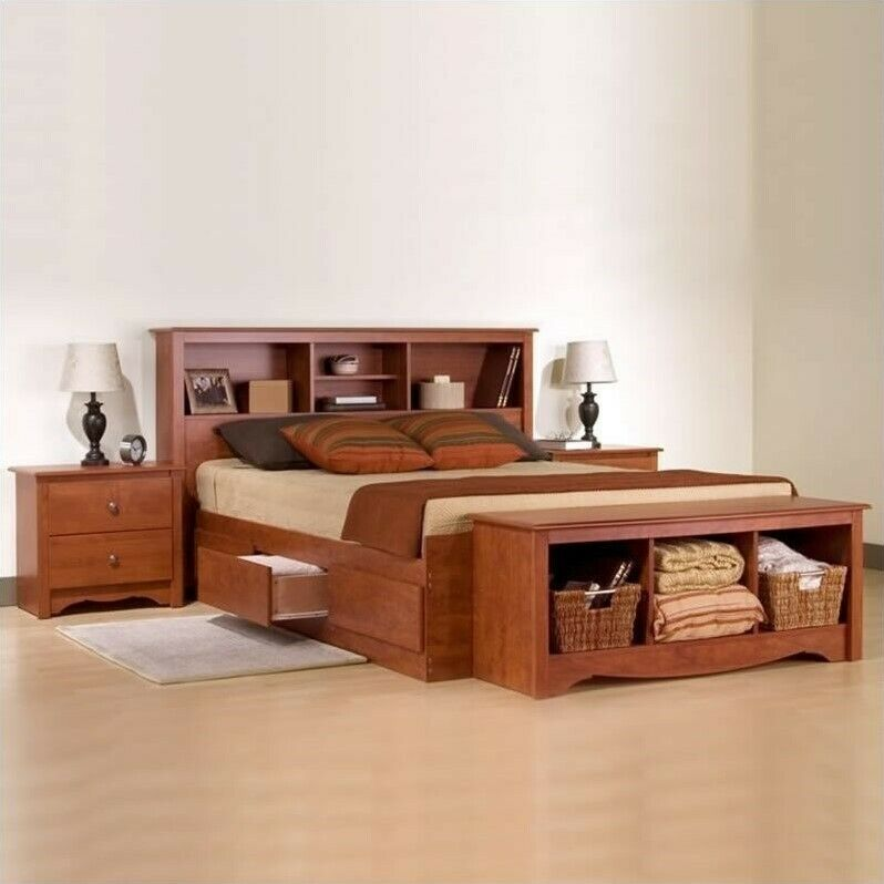 Details About White 3 Piece Storage Drawers Twin Bed Box: Prepac Monterey Cherry Queen Wood Platform Storage Bed 3