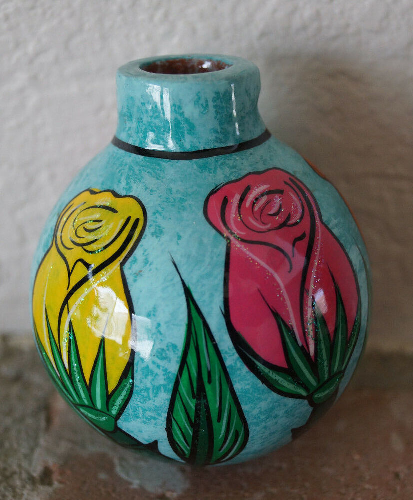 Mexican Talavera Pottery Clay Painted Rose Bulb Christmas