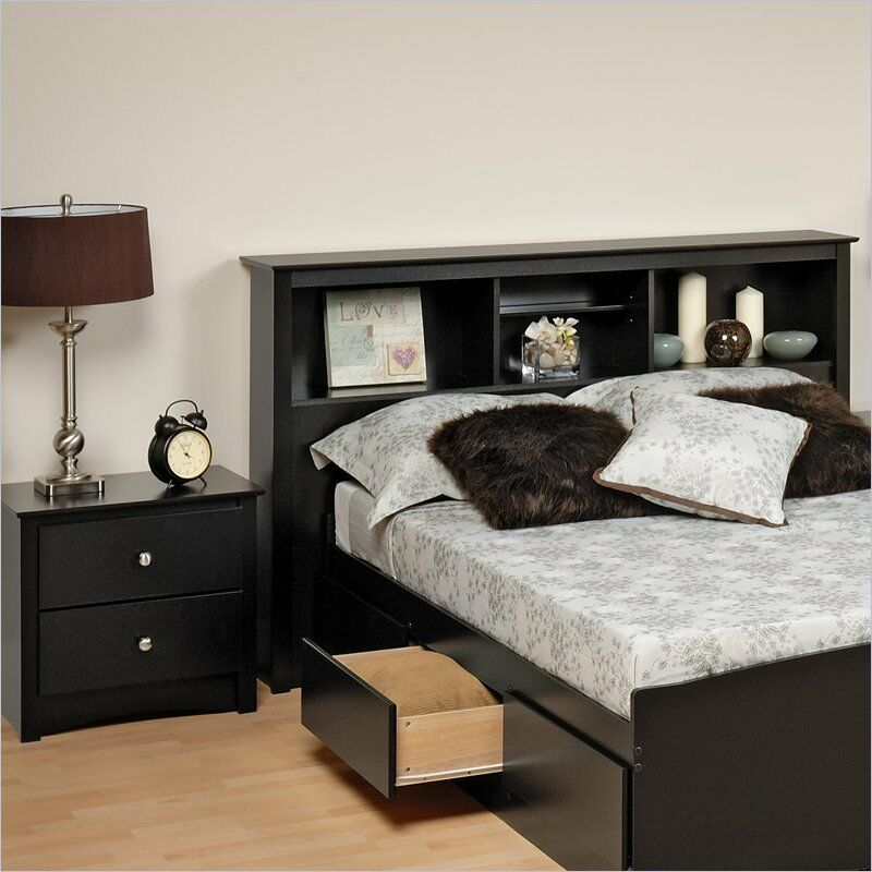 Prepac sonoma black full queen wood bookcase headboard 2 - Bedroom furniture bookcase headboard ...