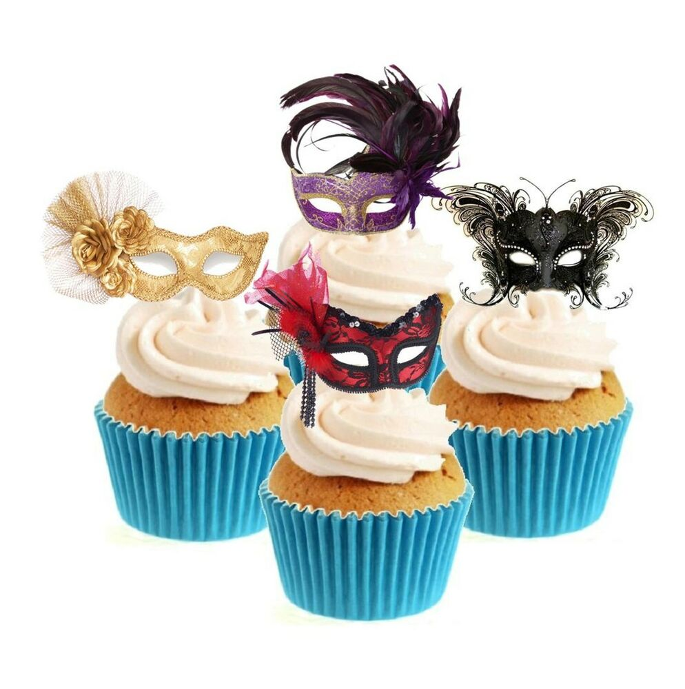 Novelty Masquerade Mask Collection 12 Edible Stand Up ...