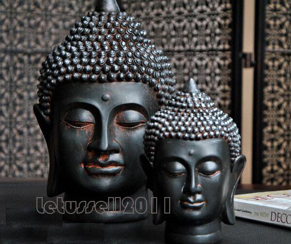 Balinese Black Buddha Head Statue Sculpture Home Decorative Ornaments 2 Sizes Ebay
