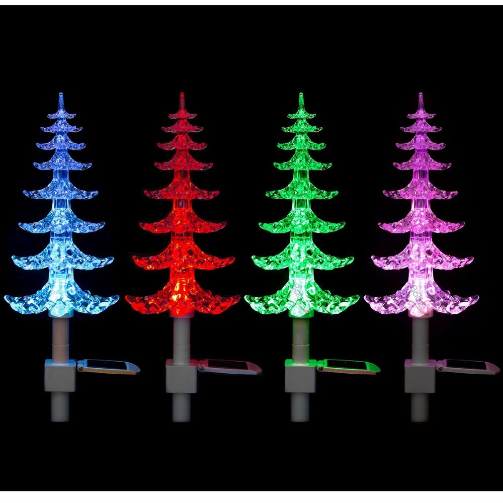 Stake Christmas Trees: Solar Powered Colour Changing LED Garden Christmas Tree