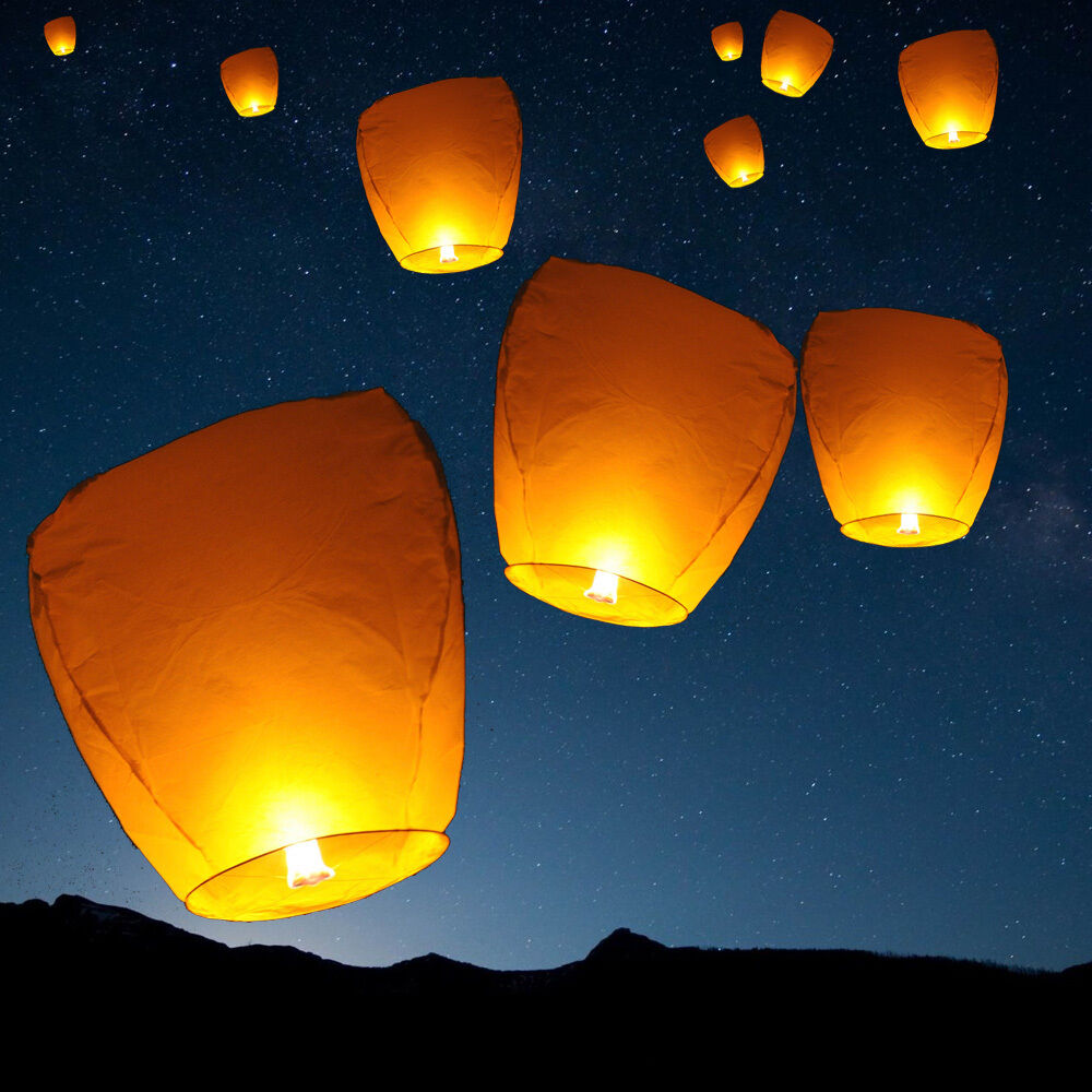 SKY LANTERN - CHINESE WISHING PAPER FLYING CANDLE-WEDDING ...
