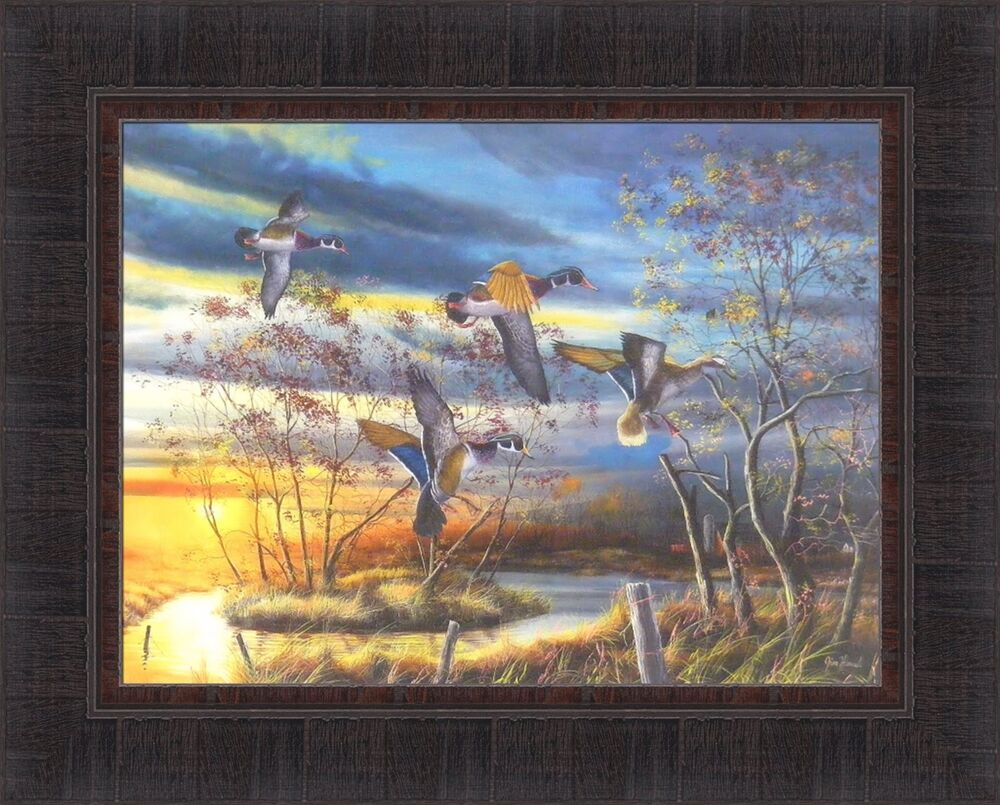 Autumn Splendor By Jim Hansel 17x21 Wood Ducks Waterfowl