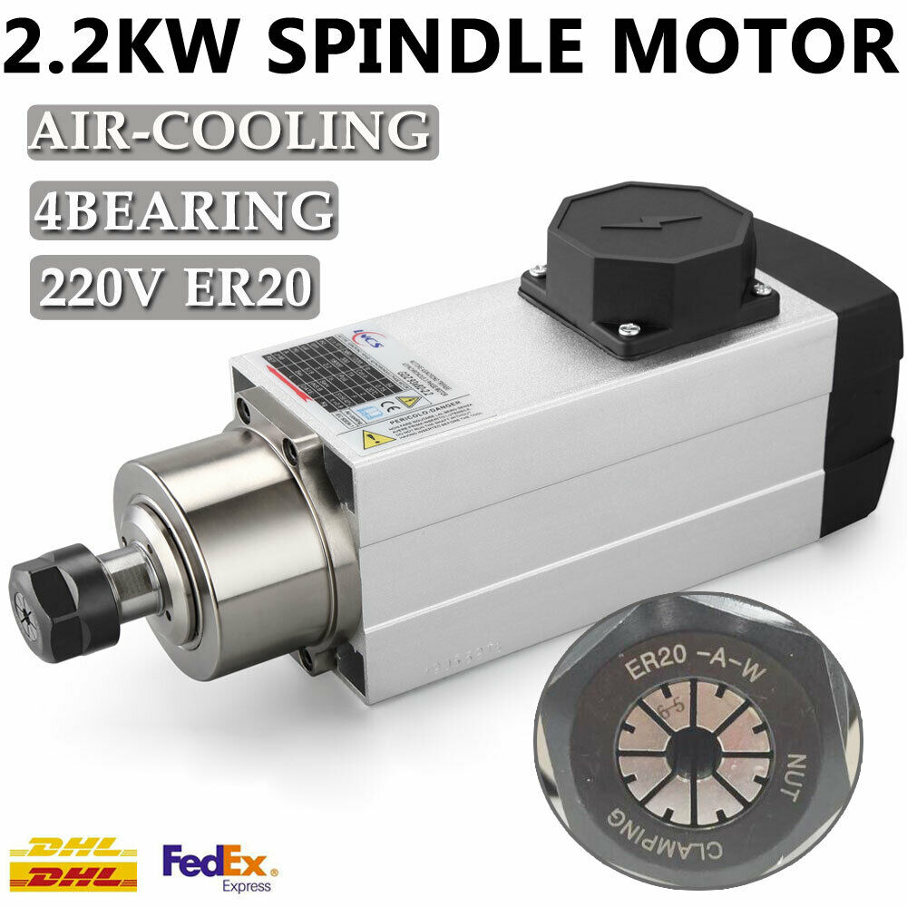 2 2kw Er25 Air Cooled Spindle Motor 18000rpm High Speed