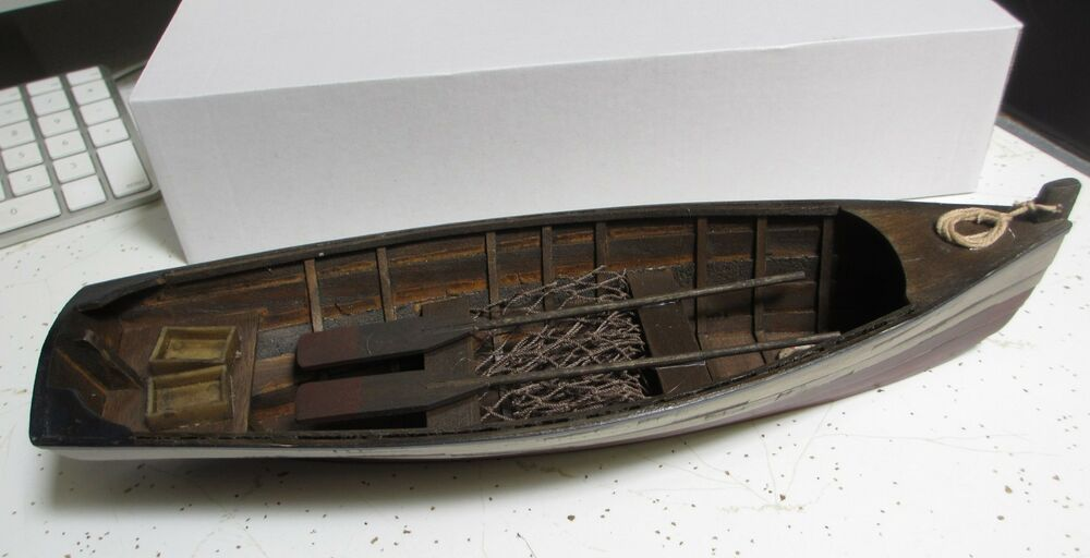 Small wood row boat skif dory canoe model rowboat skiff